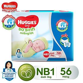 Miếng Lót Sơ Sinh Huggies Dry Newborn 1 - 56 (56 Miếng) - Bao Bì Mới