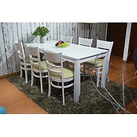 Bộ bàn ăn cabin 6 ghế trắng