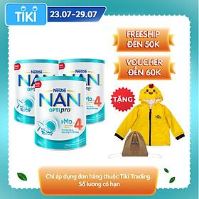 Combo 3 lon sữa bột Nestlé NAN OPTIPRO  4 HMO lon 900g + Tặng Áo khoác gấp gọn chú gà