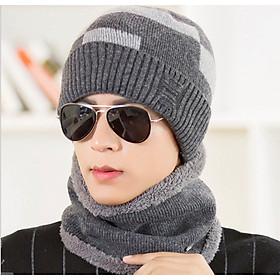 bộ mũ len nam kèm khăn ống cao cấp, sét nón len nam kèm khăn 2 trong 1