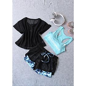 Sét bộ quần áo tập gym nữ Louro SE16, trọn bộ quần áo tập gym nữ 3 món, phù hợp tập gym, yoga, zumba