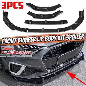 Carbon Fiber Look Front Bumper Lip Body Kit Spoiler For Audi A4 2020 Sport Bumper