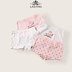 Set 4 chiếc quần chip bé gái, quần lót cho bé gái cotton cao cấp họa tiết Trái tim dễ thương hãng LASAMO mã QLB002