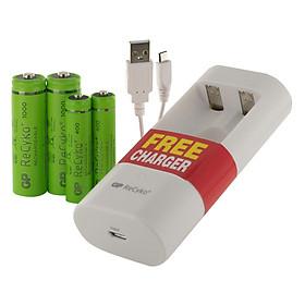 Bộ Máy Sạc Gp Batteries U211 Kèm 2 Viên Pin Sạc Gp Batteries Recyko+ Aa (1000Mah) Và 2 Viên Pin Sạc Gp Batteries Aaa (400Mah)
