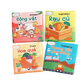 Combo 4 cuốn sách vải song ngữ Lalala baby (chủ đề Động vật, Phương tiện giao thông, Hoa quả, Rau củ) made in Vietnam
