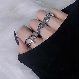 Bộ 3 chiếc Nhẫn nam nữ unisex thánh giá nối thắt đai thả tua cá tính tặng ảnh Vcone