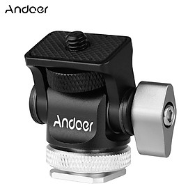 Andoer Mini Monitor Mount Tripod Head Cold Shoe Adapter Aluminum Alloy 1/4 Inch Screw for Mounting Camera Monitor Flash