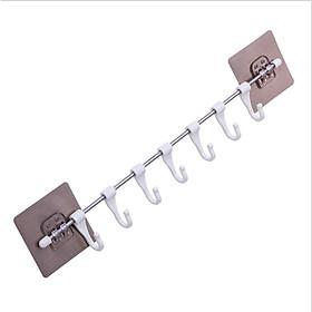 Thanh treo đồ inox dán tường,tủ quần áo, nhà bếp, có 6 móc chịu lực tiết kiệm diện tích GD263-MTSC-ThanhINOX