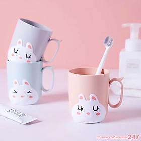 Cốc uống nước, cốc đánh răng nhựa PP cao cấp hình thỏ con xinh xắn an toàn dung tích 450ml - giao màu ngẫu nhiên