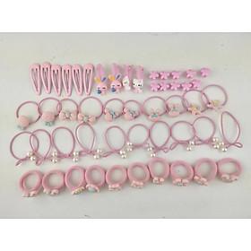 Combo 50 chiếc Buộc tóc kèm kẹp tóc hộp Hello Kitty hồng mix style