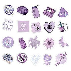 Sticker Tím Pastel Hình Dán Màu Purple Nhạt Decal Trang Trí Chống Nước Chất Lượng Cao