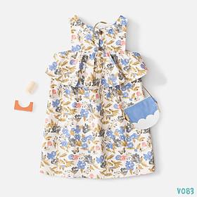 Váy Bé Gái Dáng Xòe  2 Màu Họa Tiết Hoa Lá Siêu Xinh BELLO LAND