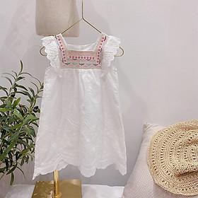 Đầm Trắng Cổ Vuông Thêu Phong cách Hàn Quốc cho bé gái (11-25kg)