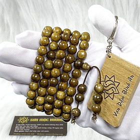 Vòng tay trầm hương tràng 108 hạt Tốc SƠN MỘC HƯƠNG tặng 1 mốc khóa SMH