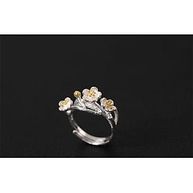 Nhẫn nữ hoa mai bạc N027