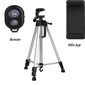 Gậy Tripod 3 chân cho điện thoại và máy ảnh 3366 dài 1m50 cao cấp - Tặng kèm Đầu kẹp điện thoại và Remote Bluetooth