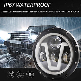 1PCS Car LED Headlight 7in 500W Round V-type Headlamp Super Bright H4 Plug H13 Wire Harness Replacement for Jeep