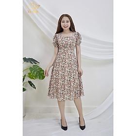 Đầm Thiết kế Đầm xòe Đầm thời trang công sở Đầm trung niên thương hiệu TTV493 Hoa cam - Đầm xòe cổ vuông dập ly