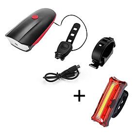 Bộ Đèn Còi Xe Đạp 7588 Siêu Sáng Led CREE - XPG 300 Lumen, Pin 1200mah, 140dB Và Đèn Sau Xe Đạp Sạc USB HYD186 Sáng Tối Đa 15 Giờ