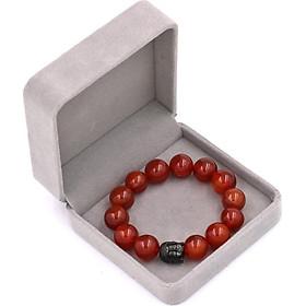 Vòng đeo tay mã não đỏ 14 ly cẩn hạt Phật A Di Đà inox đen VMNONLE14 HỘP NHUNG - hợp mệnh Hỏa, mệnh Thổ