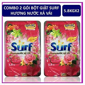 COMBO 2 túi bột giặt Surf Hương nước xả vải (Hồng) Gói lớn 5.8kgX2
