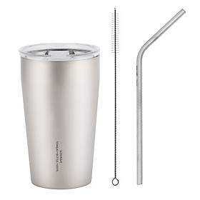 Lixada 500ml Double Wall Titanium Beer Cup with Drinking Straw and Cleaning Brush Outdoor Camping Backpacking Cup