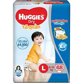 Combo 3 Gói Tã Quần Huggies Dry Gói Cực Đại L68 (68 Miếng) - Bao Bì Mới