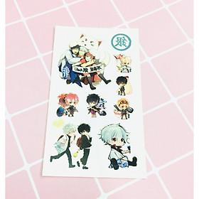 Set 5 Bảng hình xăm Gintama Sticker Tattoo
