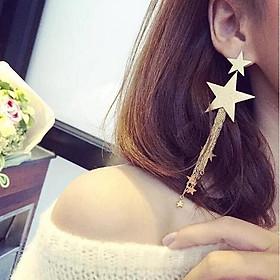 Combo 2 Đôi bông tai nữ tòng teng gồm 1 đôi màu bạc và 1 đôi màu vàng