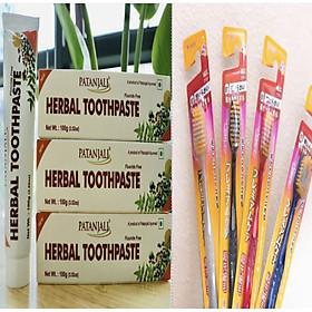 COMBO:Mua Kem đánh răng dược liệu Ấn Độ Patanjali Herbal Toothpaste tặng bàn chải kháng khuẩn Nhật