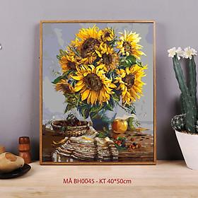 Tranh tự tô theo số sơn dầu số hóa Tranh hoa hướng dương mã BH0045
