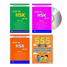 Combo 4 sách  Luyện thi HSK cấp tốc tập 1+2+3 và 555 Lỗi sai thường mắc phải trong đề thi HSK ( kèm CD)