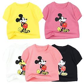 Áo thun croptop cổ tròn in Mickey cartoon cho bé gái từ 10 đến 42 kg 05319-05328