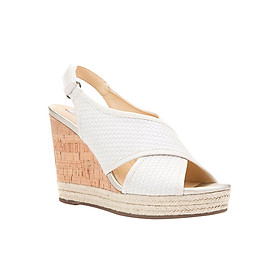 Giày Sandal Đế Xuồng Nữ GEOX D JANIRA C WOV.PR.BUF+SYN.LE OFF WHITE - Trắng