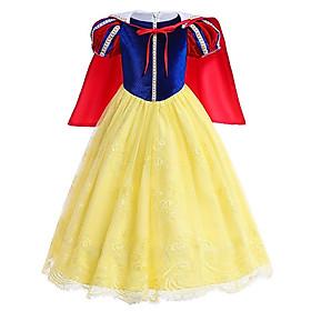 Đầm Bạch Tuyết Nhung Dài Cao Cấp Cho Bé Gái Kèm Áo Choàng