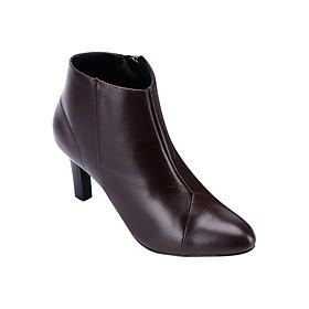 Giày Boot Nữ Da Bò Chỉ Hình Tam Giác Huy Hoàng HT7039 - Nâu