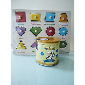 Bột sữa non Colomi 51% sữa non được nhập khẩu từ Mỹ cho bé hộp 200gr tặng kèm bảng hình học núm gỗ