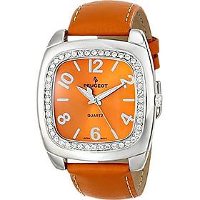 Peugeot Women's Crystal Bezel Boyfriend Leather Strap Watch