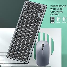 Bộ Bàn phím chuột không dây mini WLK616 - pin sạc - đa kết nối bluetooth 5.0 + 3.0 + Usb wireless 2.4G