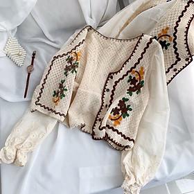 Áo len mỏng thêu hoa tay ren tiểu thư vintage