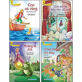 Combo Trọn Bộ 4 Cuốn: Bộ Truyện Song Ngữ Anh- Việt Dành Cho Trẻ Từ 3 Tuổi: Công Chúa Tóc Mây + Hoàng Tử Ếch + Con Cá Vàng + Con Sói Và Bảy Chú Dê Con