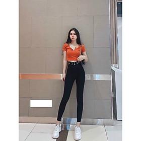 Quần jean nữ co dãn Julido Store, lưng cao mẫu mới màu đen JD8888