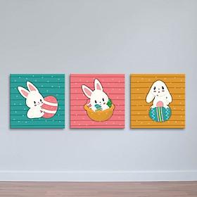 Bộ 3 Tranh Con Thỏ Và Quả Trứng - Tranh Phòng Trẻ Em Canvas Có Viền W1196