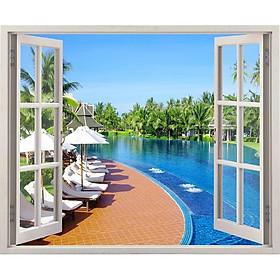Tranh dán tường cửa sổ 3D cảnh hồ bơi đẹp VTC VT0108