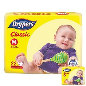 Tã Dán Drypers Classic Gói Trung M22 (22 Miếng) + Tặng 1 Gói Cùng Loại
