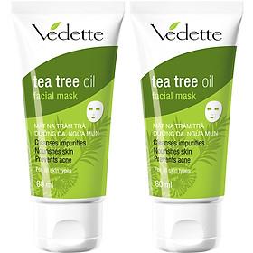 Combo 2 Mặt Nạ Đất Sét Dưỡng Da Ngừa Mụn Vedette Tràm Trà (Tea Tree Oil) - Tube 80ml