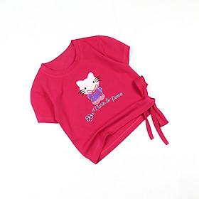 Áo thun cột nơ croptop tay ngắn thêu Kitty cho bé gái từ 10 đến 42 kg 05475-05486