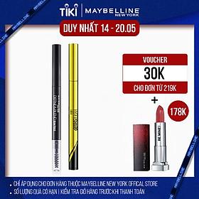 [Bộ trang điểm] Bộ đôi bút kẻ mắt nước siêu sắc mảnh + Chì Kẻ Mày 2 Đầu Define & Blend Maybelline New York