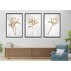 Bộ tranh 3 Bức - Tranh treo tường  phòng khách- Tranh Hoa 3D Hiện Đại H60037 /Gỗ MDF cao cấp phủ kim sa/ Chống ẩm mốc, mối mọt/Bo viền góc tròn