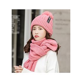 Bộ mũ nón len nữ kèm khăn cao cấp màu hồng phấn